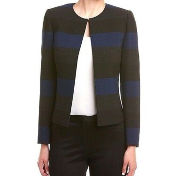 Tahari Jackets & Blazers - Tahari ASL Blue Black Grey Striped Blazer Sz 6